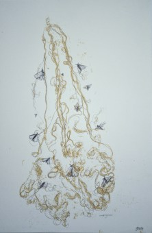 Emergence, Original Mono Print and Drawing Material: Pen Drawing and Mono Print on Paper (gold) Painted Silk, pressed and then re-worked in pen Size: A2 Price: £250 (unframed) Framed: £270