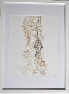 Organic home I, Original Mono Print and Drawing Material: Pen Drawing and Mono Print on Paper (gold) Painted Silk, pressed and then re-worked in pen Size: A2 Price: £250 (unframed) Framed: £270