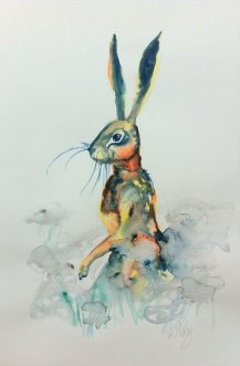 hare in daisy field